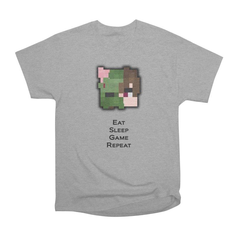 Eat Sleep Game Repeat Line Women's Heavyweight Unisex T-Shirt by Lockyz Group