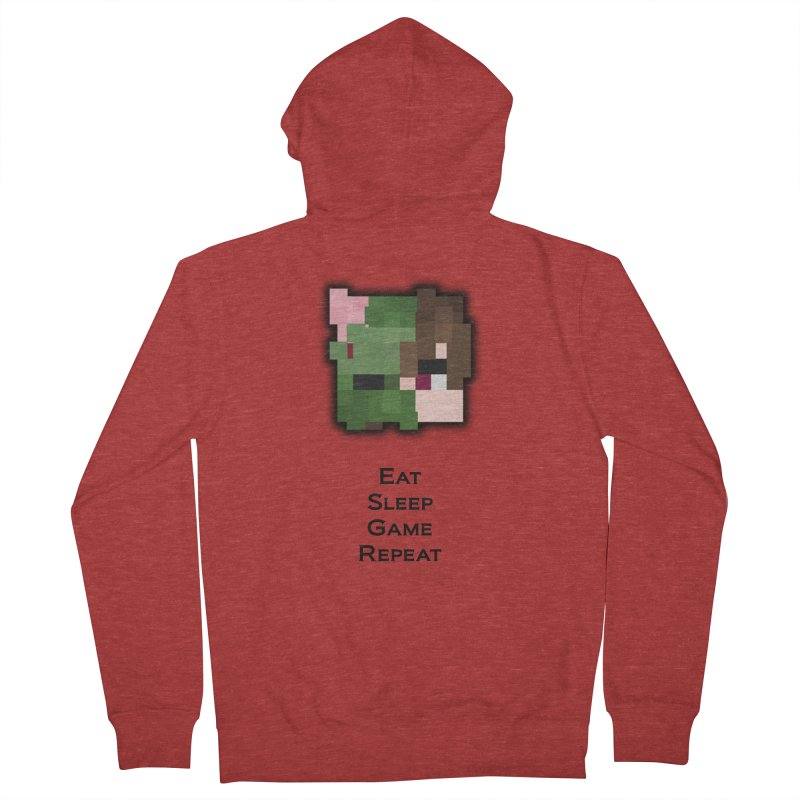 Eat Sleep Game Repeat Line Men's French Terry Zip-Up Hoody by Lockyz Group