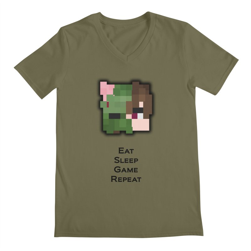 Eat Sleep Game Repeat Line Men's V-Neck by Lockyz Group
