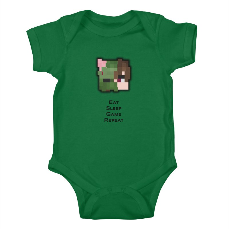 Eat Sleep Game Repeat Line Kids Baby Bodysuit by Lockyz Group