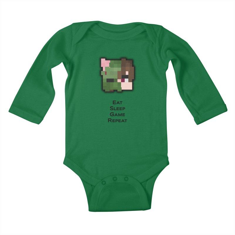 Eat Sleep Game Repeat Line Kids Baby Longsleeve Bodysuit by Lockyz Group