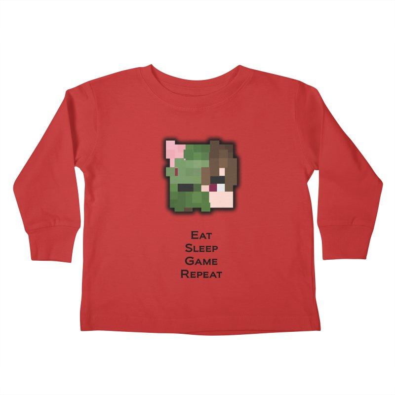 Eat Sleep Game Repeat Line Kids Toddler Longsleeve T-Shirt by Lockyz Group
