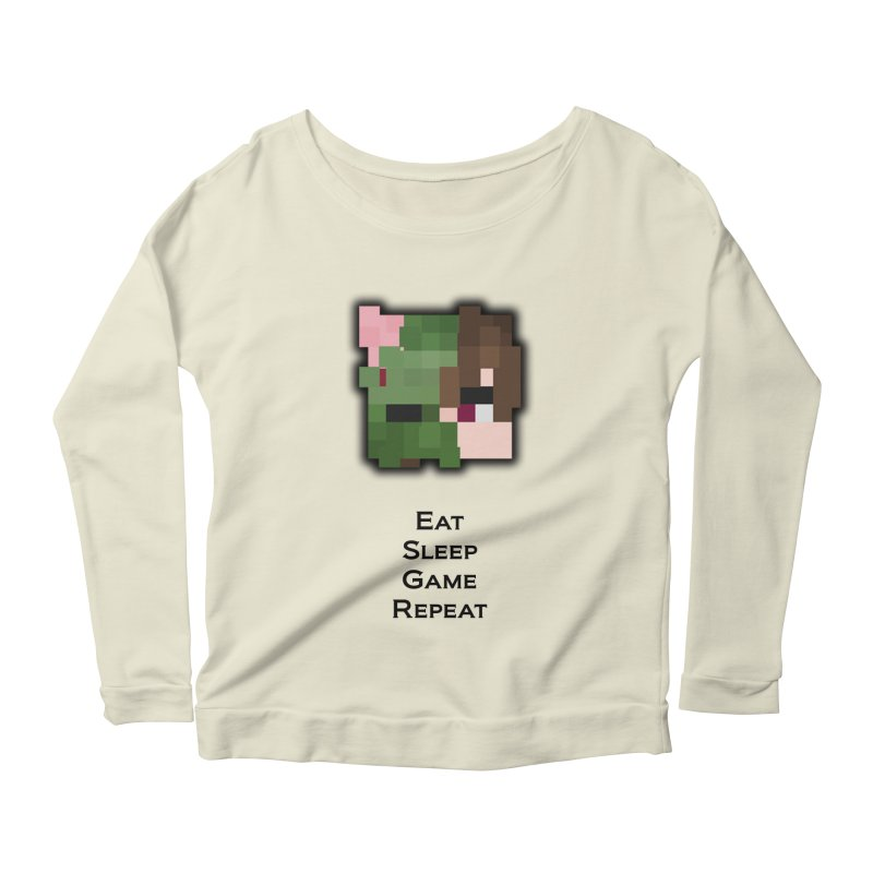 Eat Sleep Game Repeat Line Women's Scoop Neck Longsleeve T-Shirt by Lockyz Group