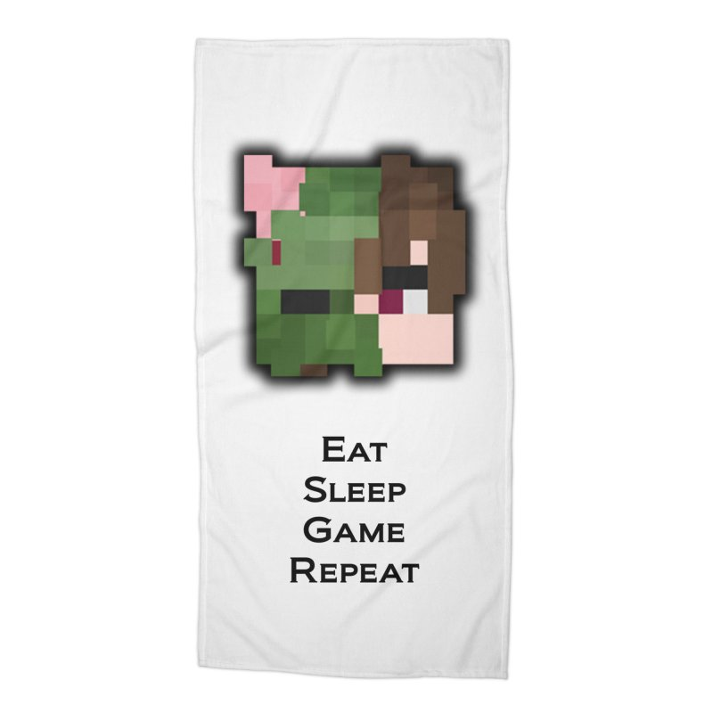 Eat Sleep Game Repeat Line Accessories Beach Towel by Lockyz Group