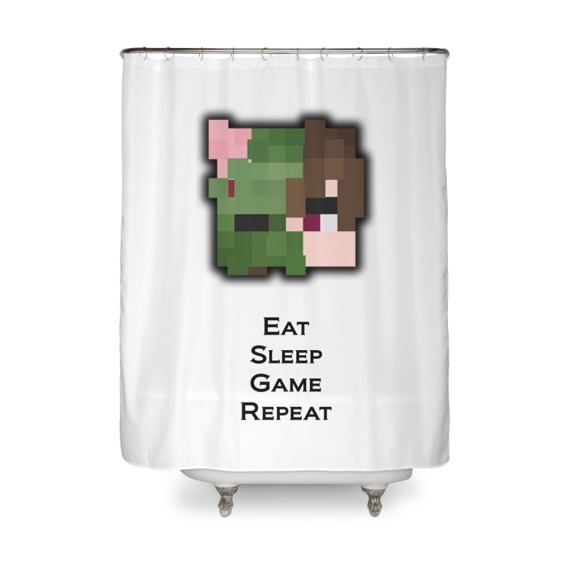 Eat Sleep Game Repeat Line Home Shower Curtain by Lockyz Group