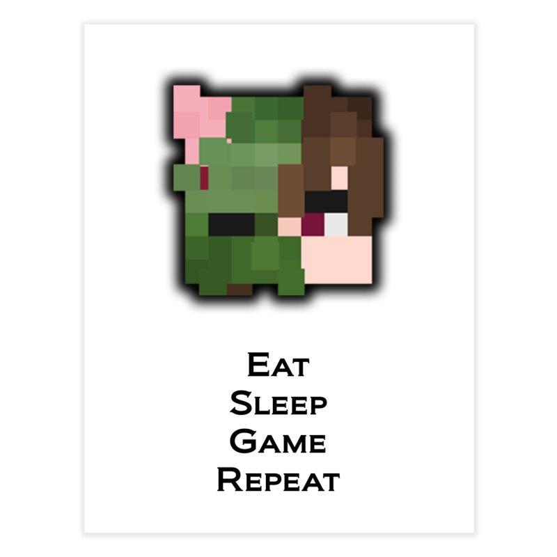 Eat Sleep Game Repeat Line Home Fine Art Print by Lockyz Group