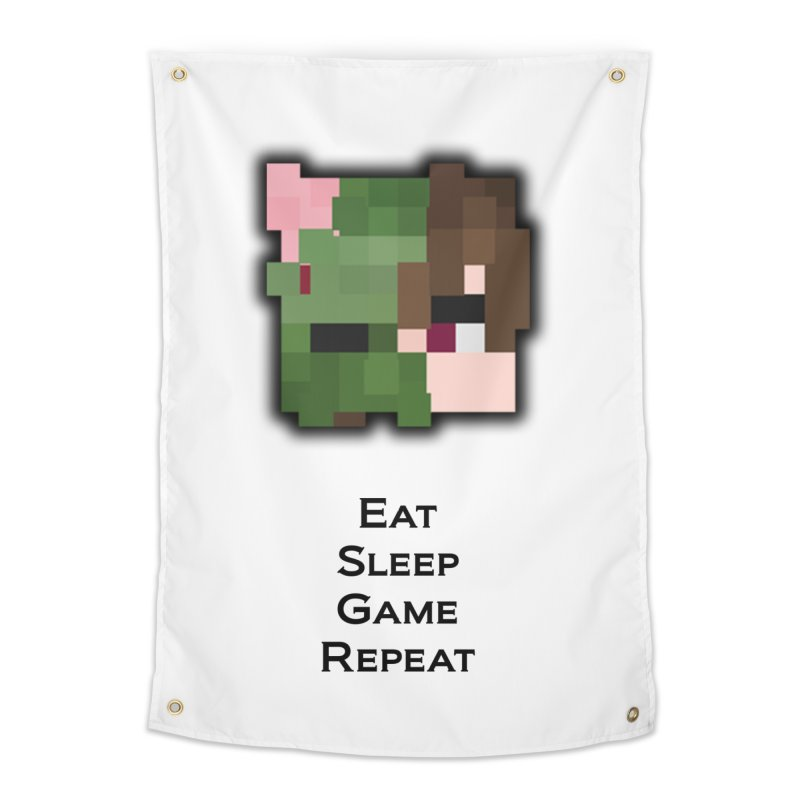 Eat Sleep Game Repeat Line Home Tapestry by Lockyz Group
