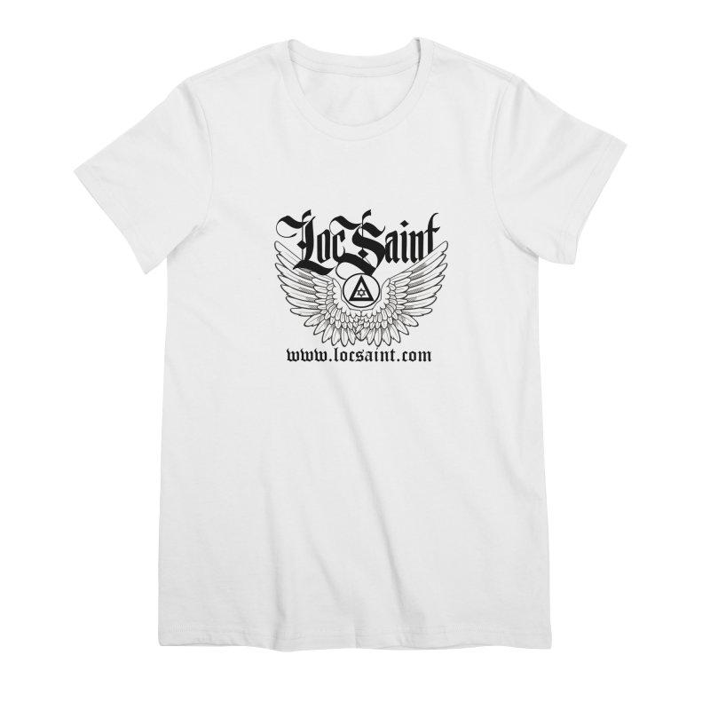 """Loc Saint """"Wings & Halo"""" (Black) Women's Premium T-Shirt by Official Loc Saint Music Merch"""