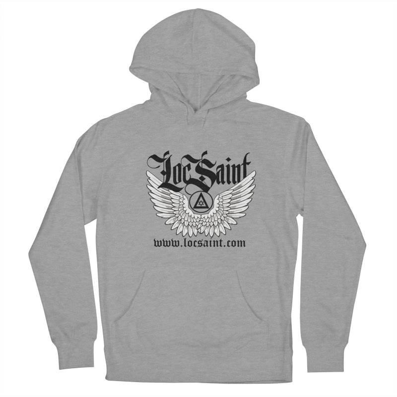 """Loc Saint """"Wings & Halo"""" (Black) Women's French Terry Pullover Hoody by Official Loc Saint Music Merch"""