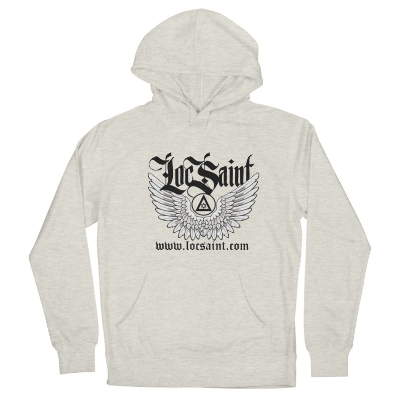 "Loc Saint ""Wings & Halo"" (Black) Men's French Terry Pullover Hoody by Official Loc Saint Music Merch"