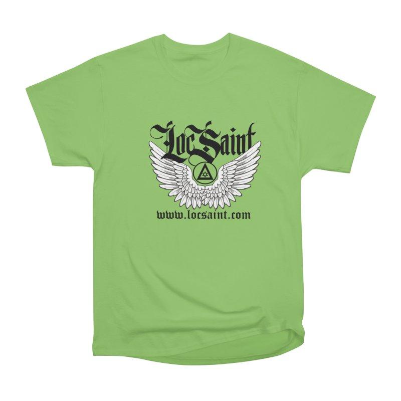 "Loc Saint ""Wings & Halo"" (Black) Men's Heavyweight T-Shirt by Official Loc Saint Music Merch"