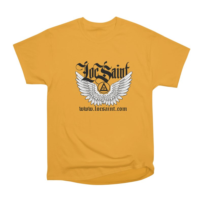 "Loc Saint ""Wings & Halo"" (Black) Men's Heavyweight T-Shirt by Official Loc Saint Music Merch"
