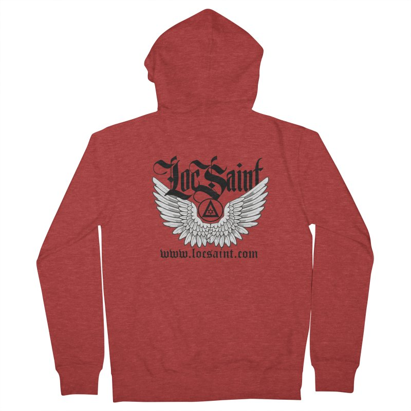 "Loc Saint ""Wings & Halo"" (Black) Men's French Terry Zip-Up Hoody by Official Loc Saint Music Merch"