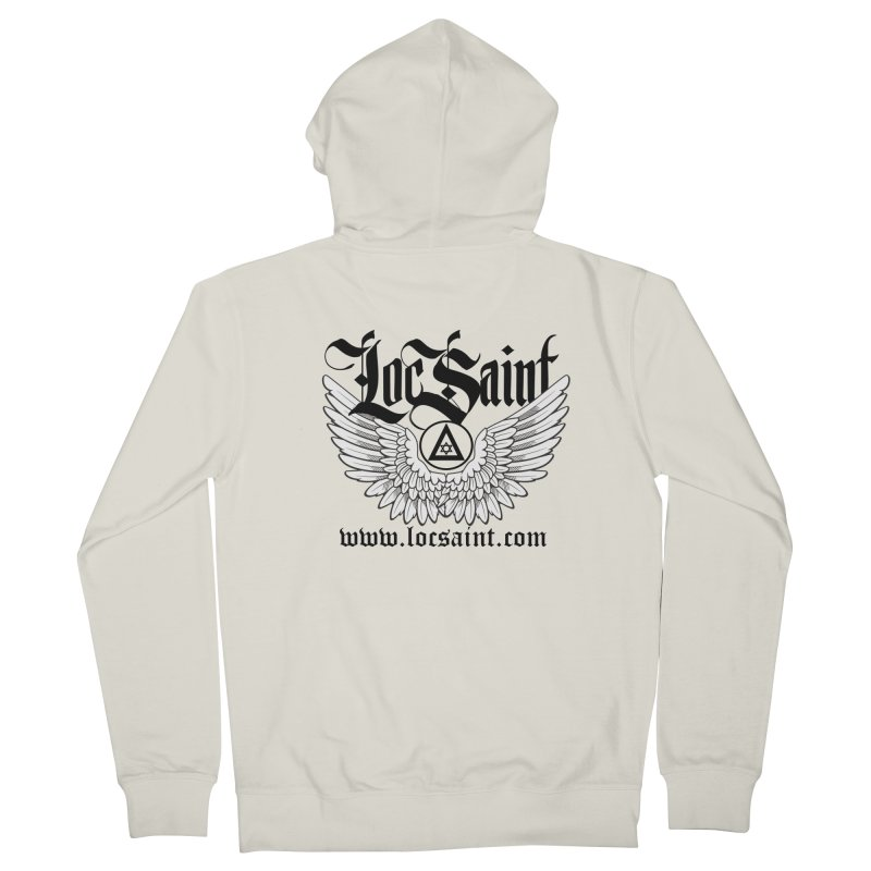 """Loc Saint """"Wings & Halo"""" (Black) Men's French Terry Zip-Up Hoody by Official Loc Saint Music Merch"""