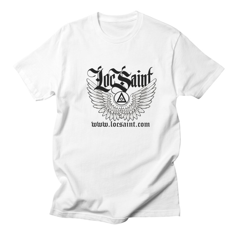 "Loc Saint ""Wings & Halo"" (Black) in Men's Regular T-Shirt White by Official Loc Saint Music Merch"