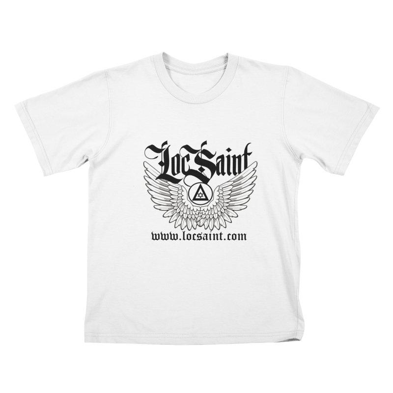 "Loc Saint ""Wings & Halo"" (Black) Kids T-Shirt by Official Loc Saint Music Merch"