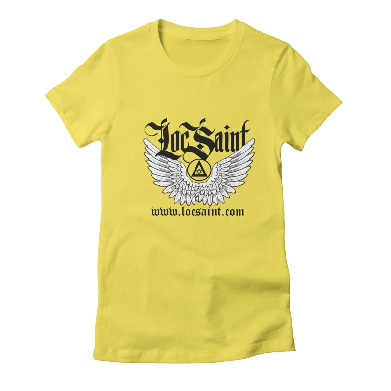 "Loc Saint ""Wings & Halo"" (Black) Women's Fitted T-Shirt by Official Loc Saint Music Merch"