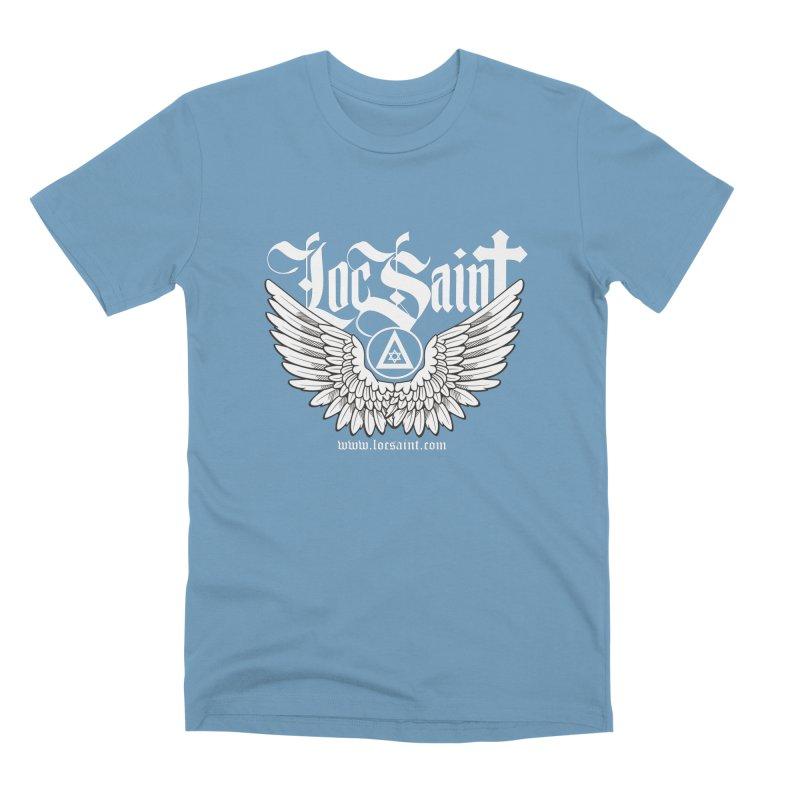 """Loc Saint """"Wings & Halo"""" (White) Men's Premium T-Shirt by Official Loc Saint Music Merch"""