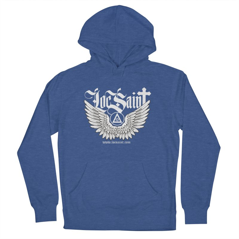 """Loc Saint """"Wings & Halo"""" (White) Women's French Terry Pullover Hoody by Official Loc Saint Music Merch"""