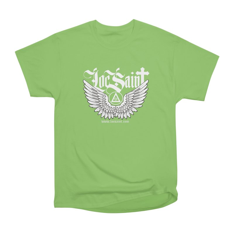 "Loc Saint ""Wings & Halo"" (White) Men's Heavyweight T-Shirt by Official Loc Saint Music Merch"