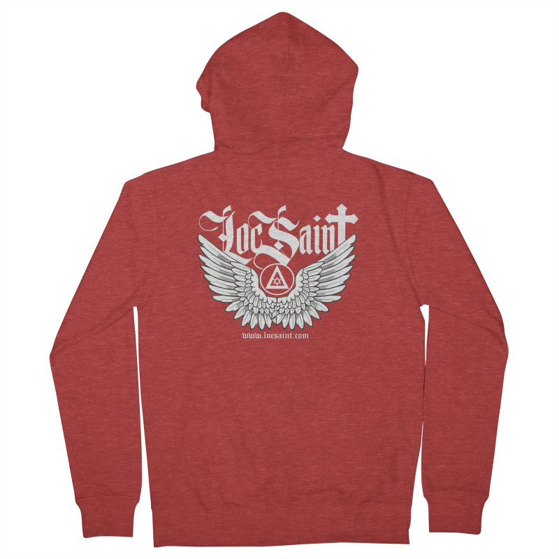 """Loc Saint """"Wings & Halo"""" (White) Women's French Terry Zip-Up Hoody by Official Loc Saint Music Merch"""