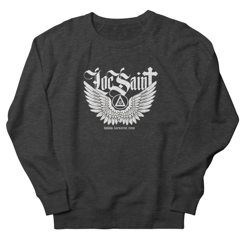 """Loc Saint """"Wings & Halo"""" (White) Men's French Terry Sweatshirt by Official Loc Saint Music Merch"""
