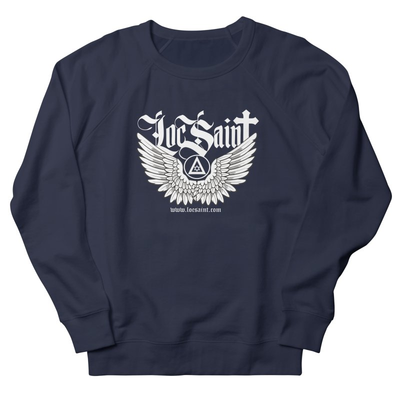 "Loc Saint ""Wings & Halo"" (White) Men's French Terry Sweatshirt by Official Loc Saint Music Merch"