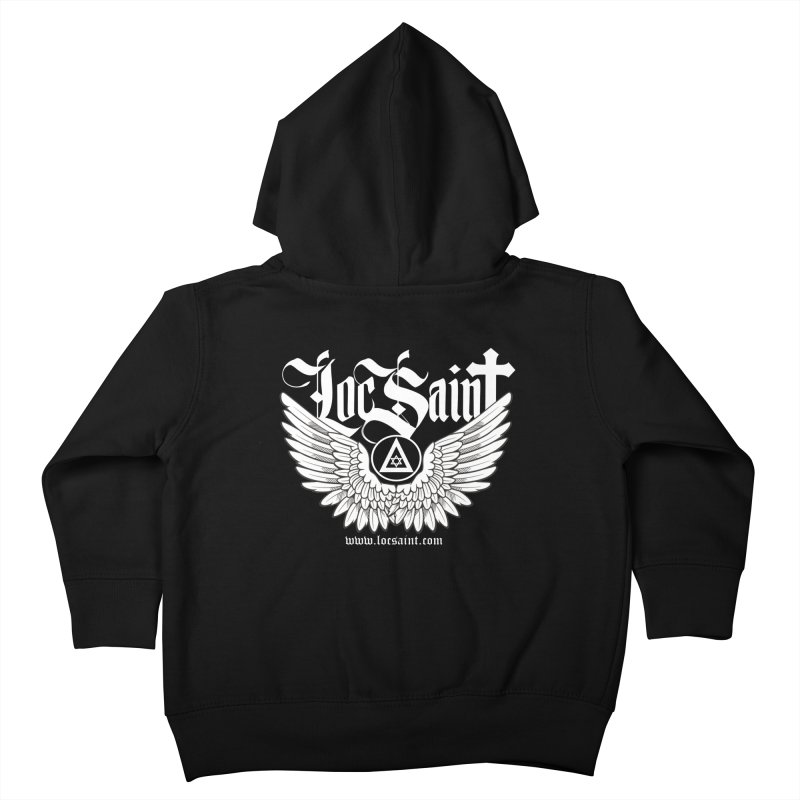 "Loc Saint ""Wings & Halo"" (White) Kids Toddler Zip-Up Hoody by Official Loc Saint Music Merch"