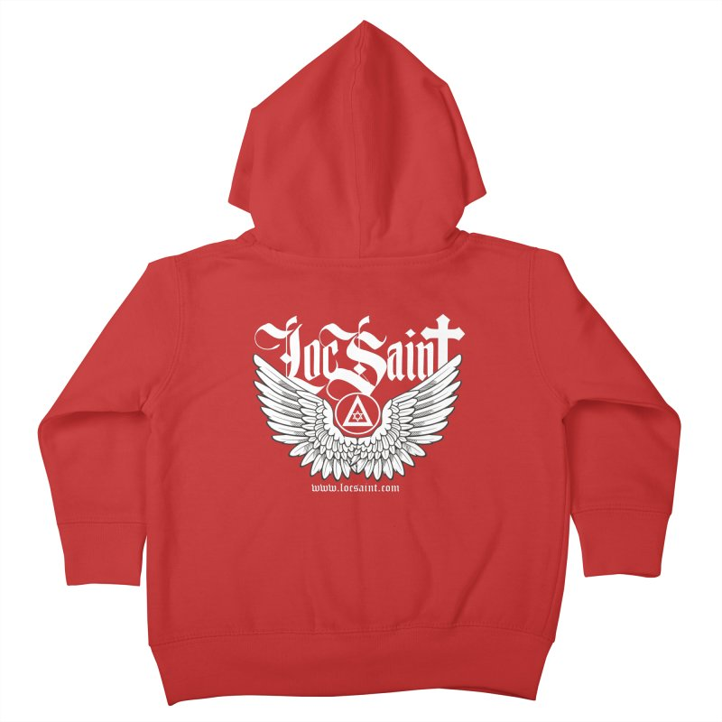 """Loc Saint """"Wings & Halo"""" (White) Kids Toddler Zip-Up Hoody by Official Loc Saint Music Merch"""