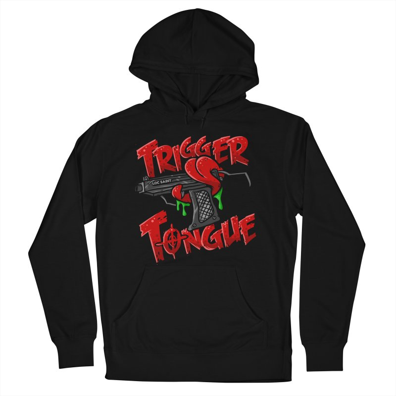 Trigger Tongue (Red) in Men's French Terry Pullover Hoody Black by Official Loc Saint Music Merch