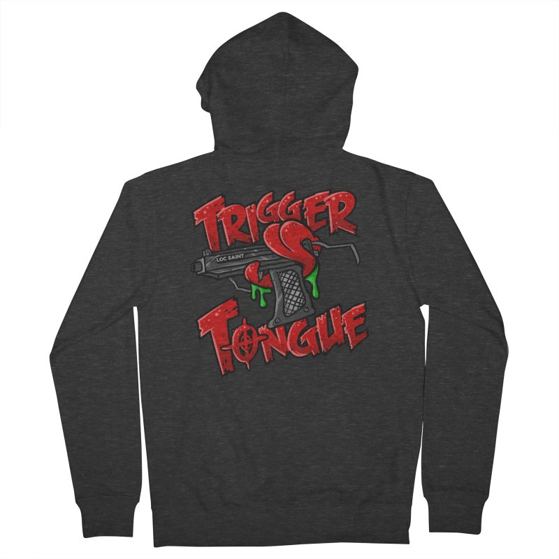 Trigger Tongue (Red) Men's French Terry Zip-Up Hoody by Official Loc Saint Music Merch