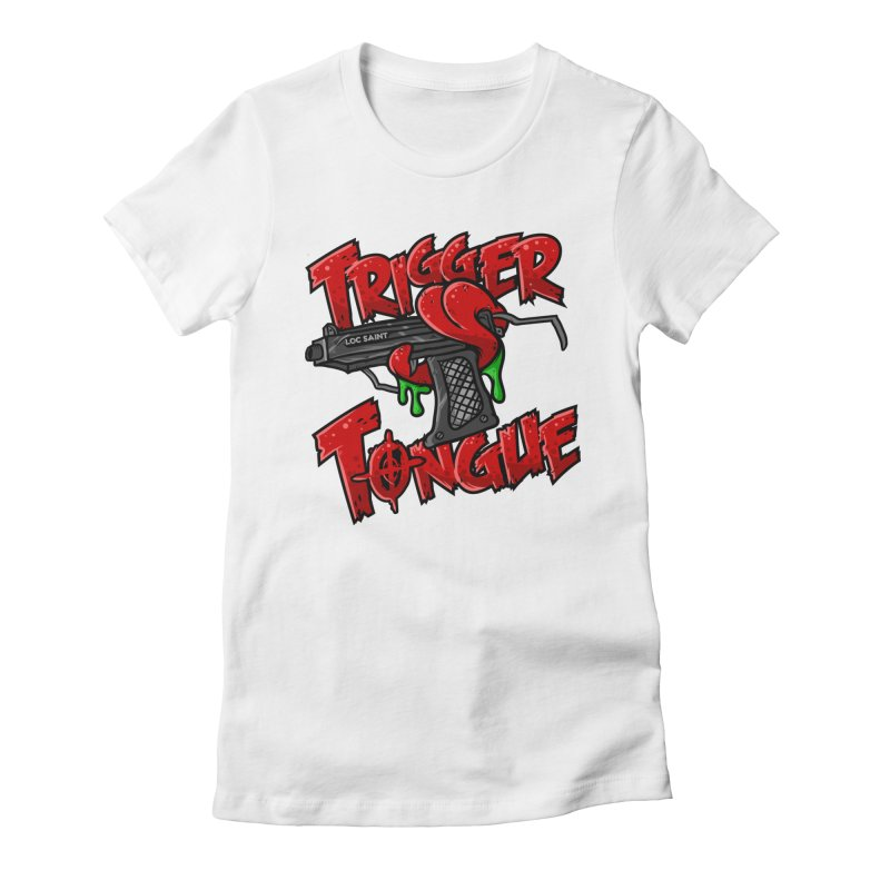 Trigger Tongue (Red) Women's Fitted T-Shirt by Official Loc Saint Music Merch