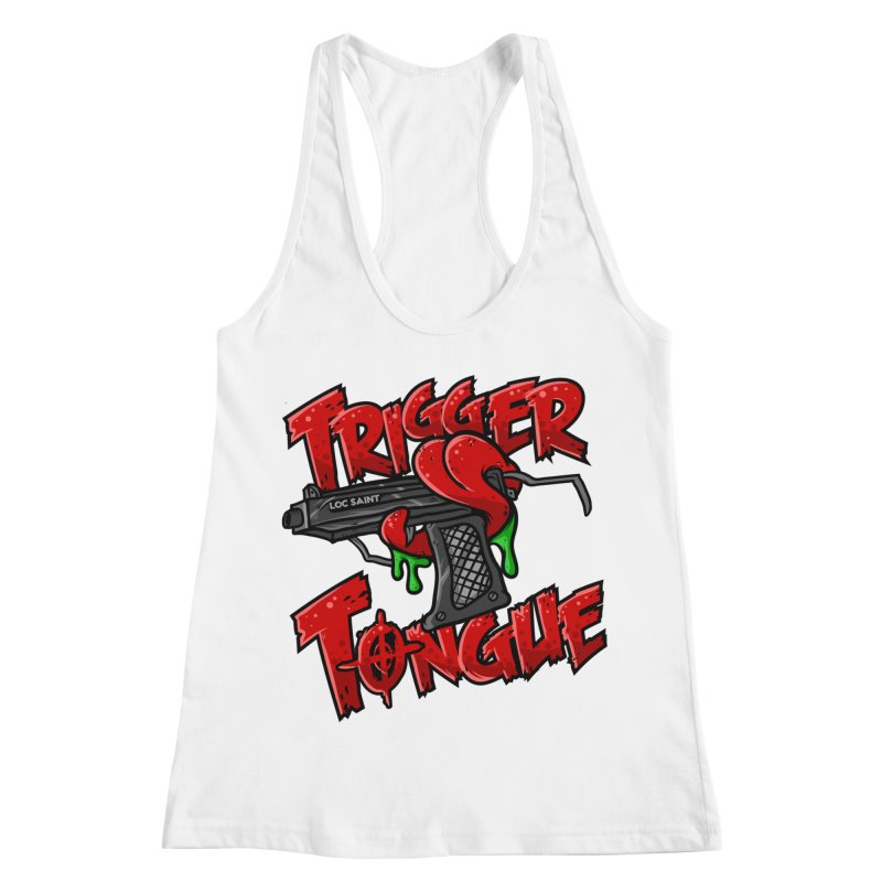 Trigger Tongue (Red) Women's Racerback Tank by Official Loc Saint Music Merch