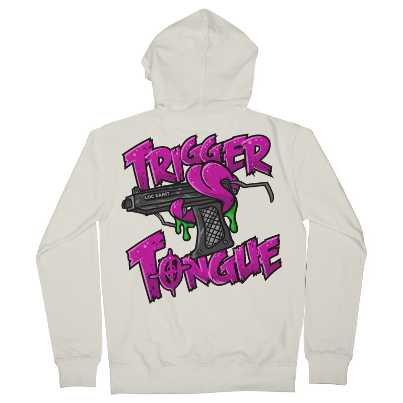 Trigger Tongue (Pink) Men's French Terry Zip-Up Hoody by Official Loc Saint Music Merch