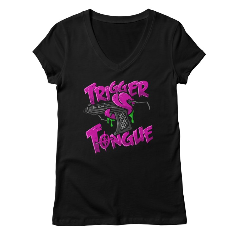 Trigger Tongue (Pink) Women's Regular V-Neck by Official Loc Saint Music Merch
