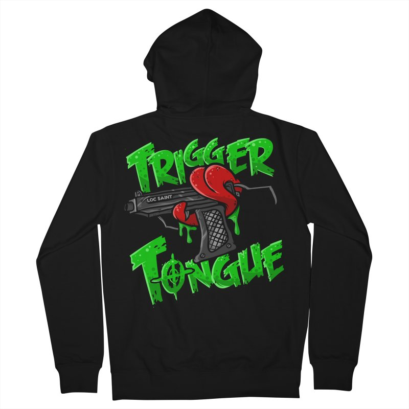Trigger Tongue (Green) Women's French Terry Zip-Up Hoody by Official Loc Saint Music Merch
