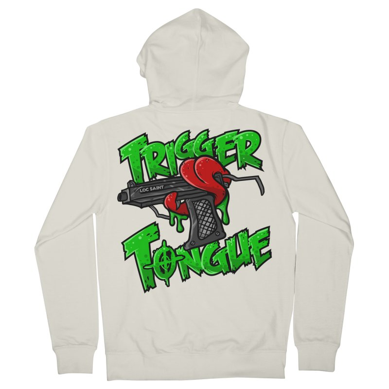 Trigger Tongue (Green) Men's French Terry Zip-Up Hoody by Official Loc Saint Music Merch