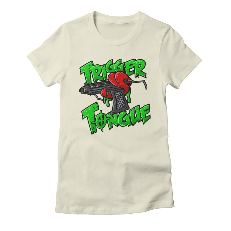 Trigger Tongue (Green) Women's Fitted T-Shirt by Official Loc Saint Music Merch