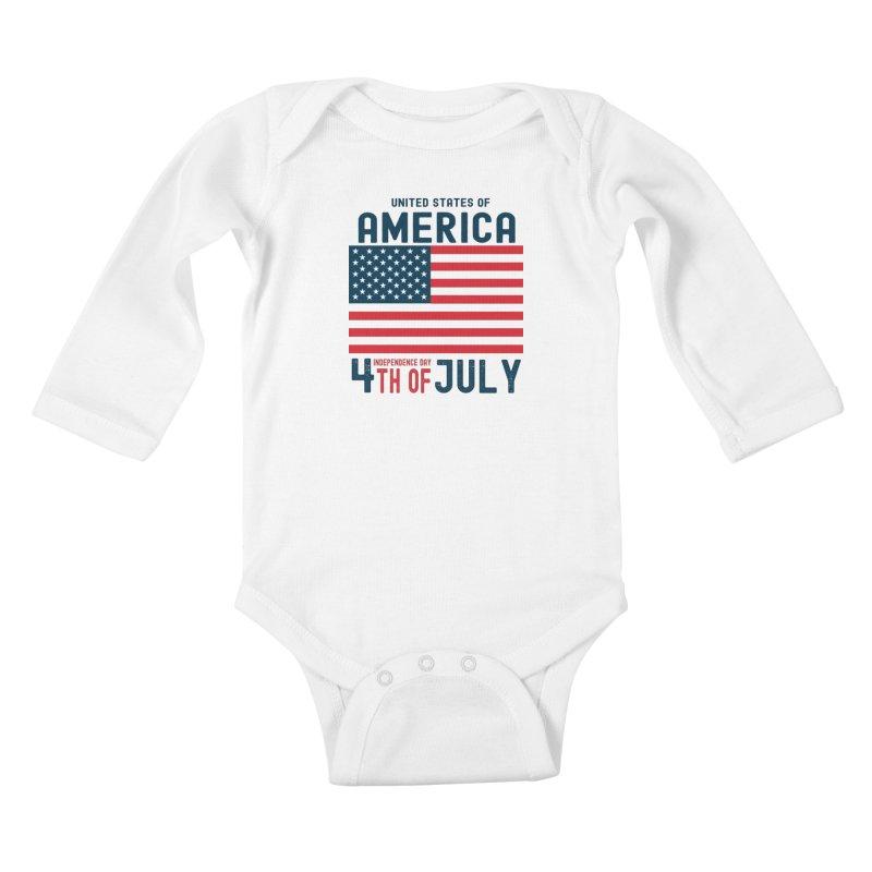 USA 4th of July Independence Day Kids Baby Longsleeve Bodysuit by Logo Gear & Logo Wear
