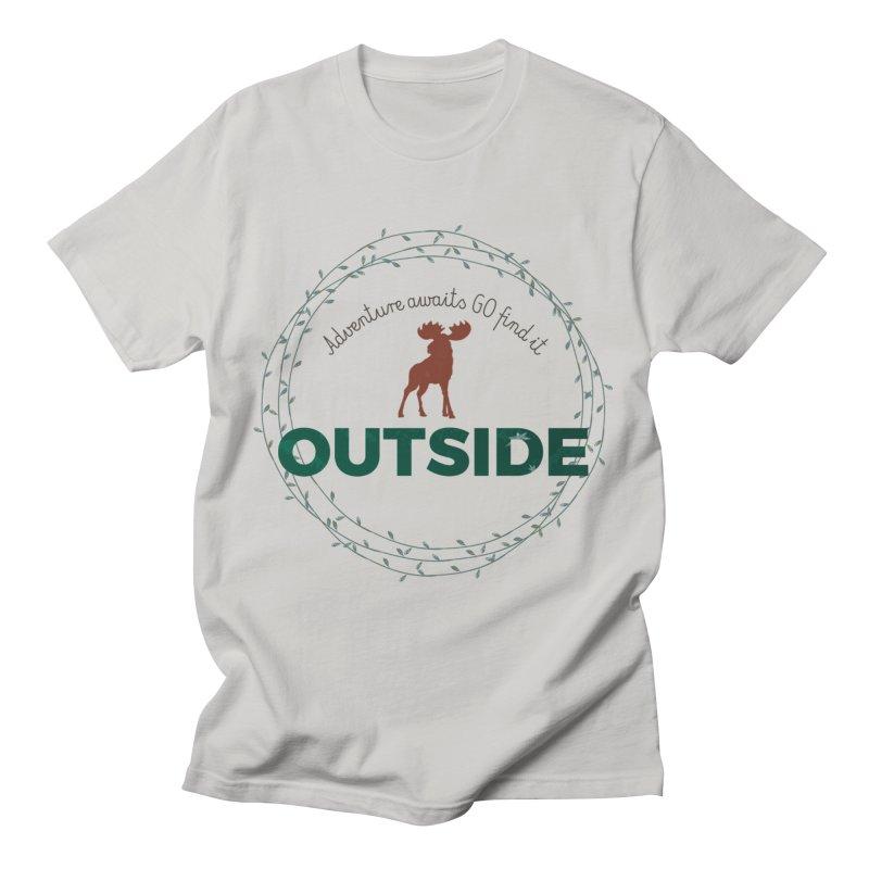 """Adventure awaits GO find it OUTSIDE"" Nature Lover's Tee Men's T-Shirt by Logo Gear & Logo Wear"