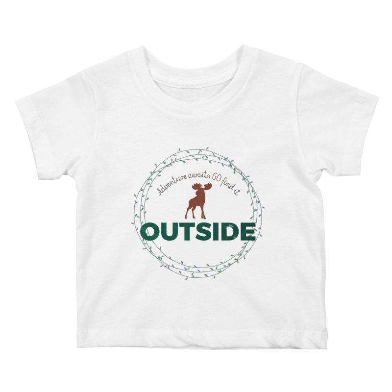 """Adventure awaits GO find it OUTSIDE"" Nature Lover's Tee Kids Baby T-Shirt by Logo Gear & Logo Wear"