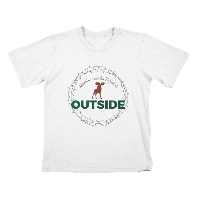 """Adventure awaits GO find it OUTSIDE"" Nature Lover's Tee Kids T-Shirt by Logo Gear & Logo Wear"