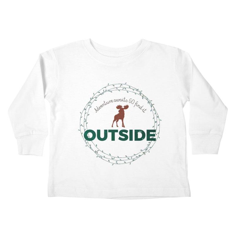"""Adventure awaits GO find it OUTSIDE"" Nature Lover's Tee Kids Toddler Longsleeve T-Shirt by Logo Gear & Logo Wear"