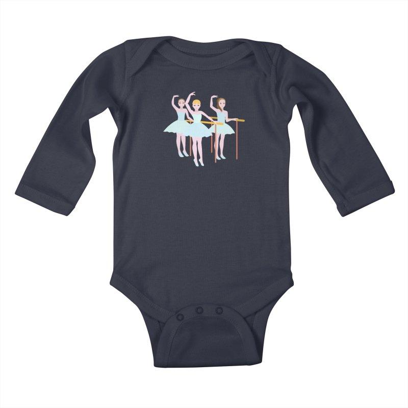 Girls at Ballet Class Kids Baby Longsleeve Bodysuit by Logo Gear & Logo Wear