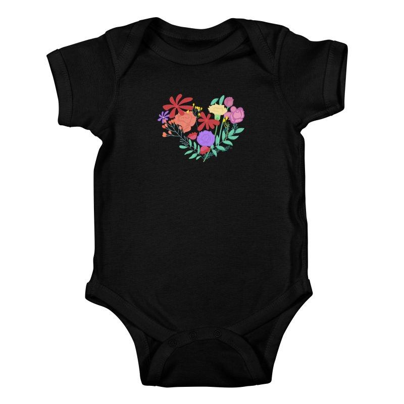 A Heart made of Flowers Kids Baby Bodysuit by Logo Gear & Logo Wear
