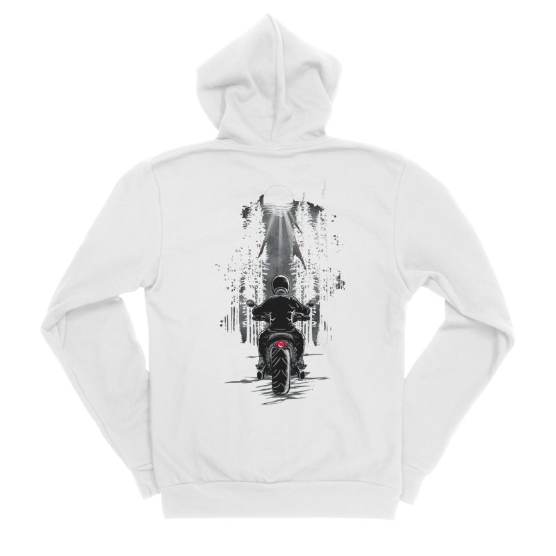 Biker Riding on a Forest Highway in the Moonlight Women's Zip-Up Hoody by Logo Gear & Logo Wear