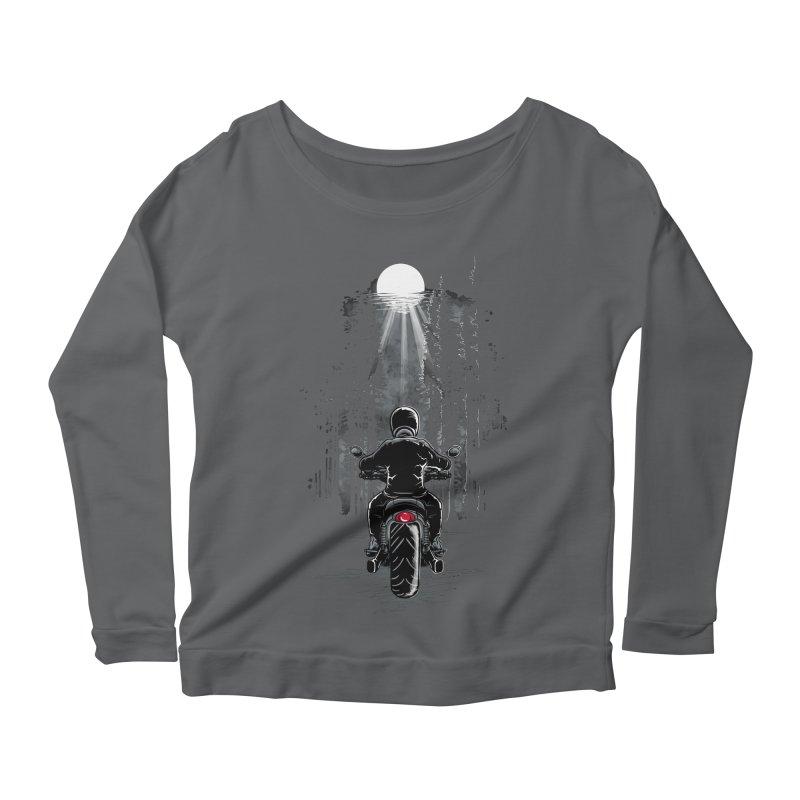 Biker Riding on a Forest Highway in the Moonlight Women's Longsleeve T-Shirt by Logo Gear & Logo Wear