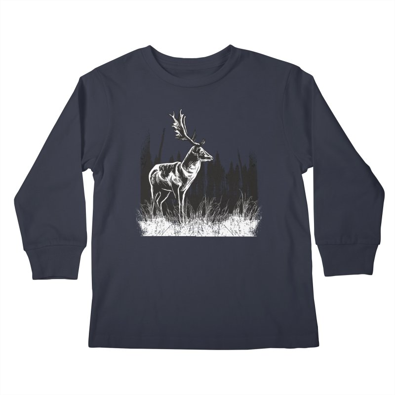 Classic Illustration of a Buck - No Branding Kids Longsleeve T-Shirt by Logo Gear & Logo Wear