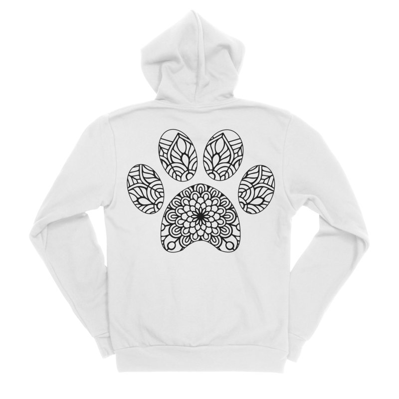 Black Cat Paw Print Mandala on Light Apparel Women's Zip-Up Hoody by Logo Gear & Logo Wear