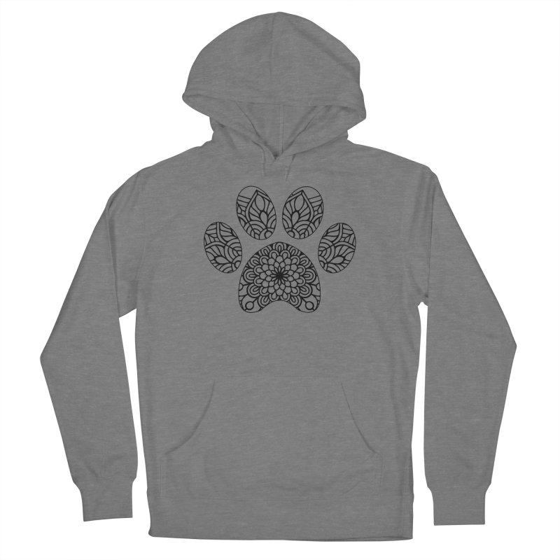 Black Cat Paw Print Mandala on Light Apparel Women's Pullover Hoody by Logo Gear & Logo Wear